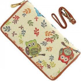 Brieftasche mit Gurt Owl Muster Tapestry