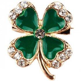Goldene Brosche Clover Fancy 4 grüne Blätter mit Strass gesetzt