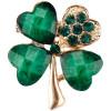 Goldene Brosche Clover Fancy 4 Green Strass besetzte grüne Blätter