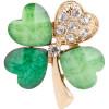 Goldene Brosche Clover Fancy 4 grüne Blätter und passende Set mit Strass