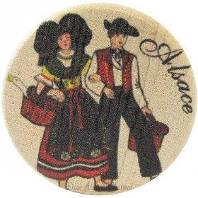 Bouchon en Bois et Liège Couple d'Alsacien en Couleur