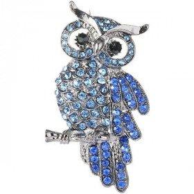 Fancy Silber Brosche mit Strass Eule auf Ast Blau