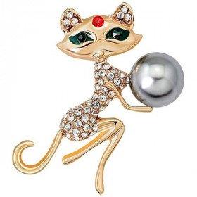 Goldene Brosche geformt Fancy Cat Set mit Strass und Perlen