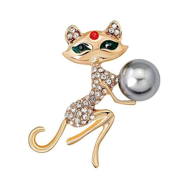 Broche Fantaisie dorée forme Chat sertie de Strass et Perle