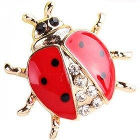 Golden Fancy Ladybug brooch set with Rhinestones