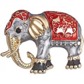 Broche Fantaisie dorée forme d'Éléphant peinture émaillée