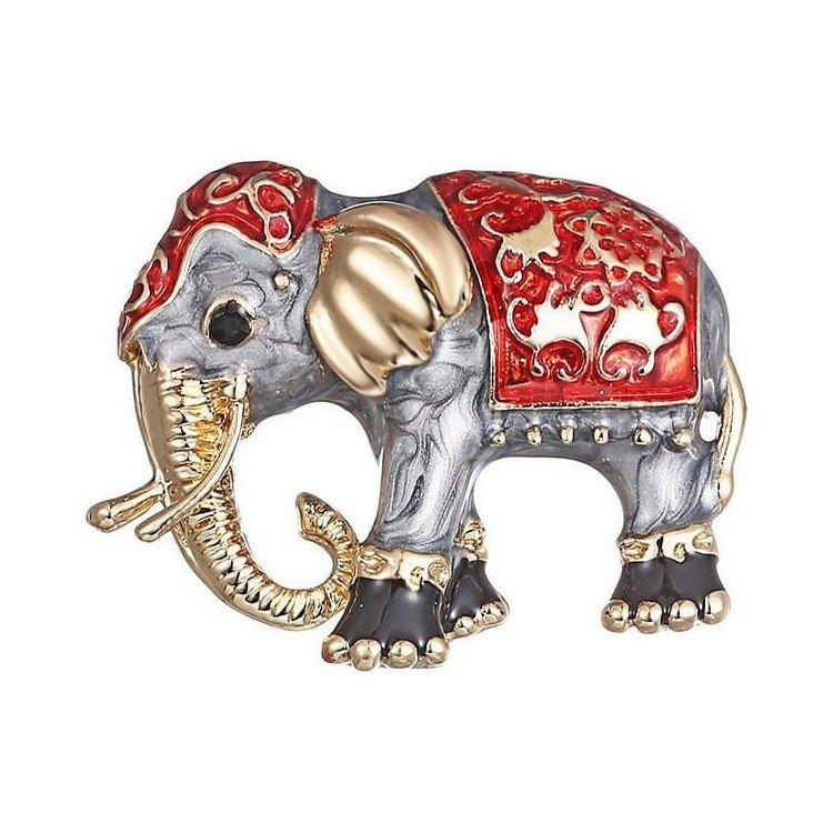 Broche Fantaisie dorée forme d'Éléphant peinture émaillée à La Boite aux Trésors à Obernai