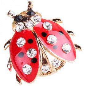 Gold Fancy Ladybug Black Dots Brooch set with Rhinestones