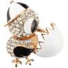 Goldene Brosche Fancy-Küken Cap, weißen Strass und Coquille