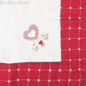 Nappe carrée 90 cm x 90 cm motif Coeurs et Fleurs sur Carreaux Vichy