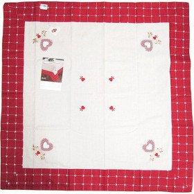 Nappe carrée 90 cm x 90 cm motif Coeurs et Fleurs sur Carreaux Vichy La Boite aux Trésors