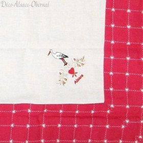 quadratisches Blatt 90 cm x 90 cm Stork Muster und Blumen auf Fliesen Vichy
