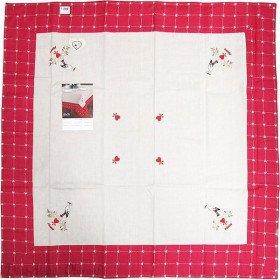 Nappe carrée 90 cm x 90 cm motif Cigognes et Fleurs sur Carreaux Vichy à La Boite aux Trésors à Obernai