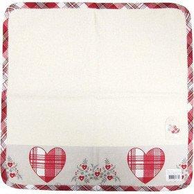 square Küche Handtuch aus 100% Baumwolle Dekor Herzen und Blumen Elsass