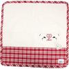 Handtuch Quadrat Küche 100% Baumwolle Ecru Hintergrund und Vichy bestickt mit einem Storch und Herz