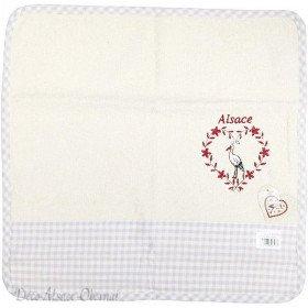 Handtuch Quadrat Küche 100% Baumwolle Ecru Hintergrund mit grauen Streifen Gesticktes Herz