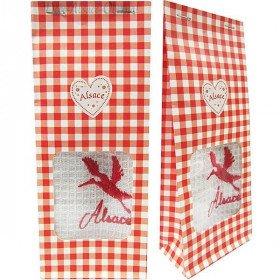 Pochon Cadeau rouge Essuie-Main brodé Cigogne d'Alsace à Offrir !