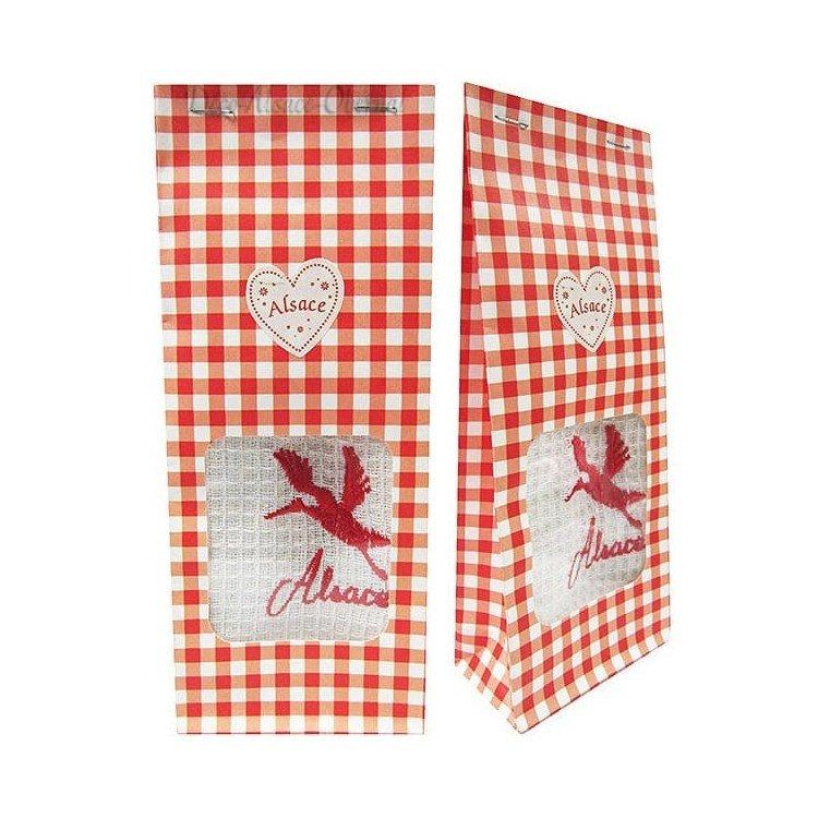 Pochon Cadeau rouge Essuie-Main brodé Cigogne d'Alsace à Offrir! à La Boite aux Trésors à Obernai