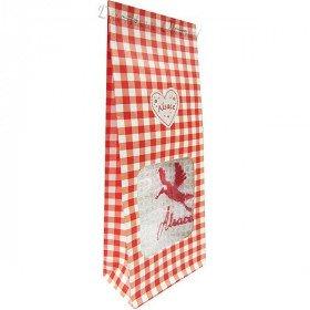 Rotes Geschenk-Geschenkpapier-handgestickter Storch aus Elsass zu Bieten! in La