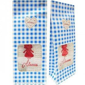 Pochon Cadeau bleu Essuie-Main brodé Cigogne d'Alsace à Offrir !