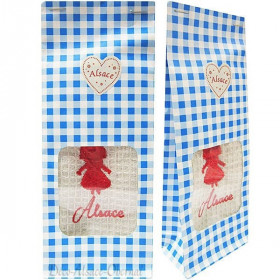 Pochon Geschenk blau handtuch bestickt Storch Elsass zu Bieten