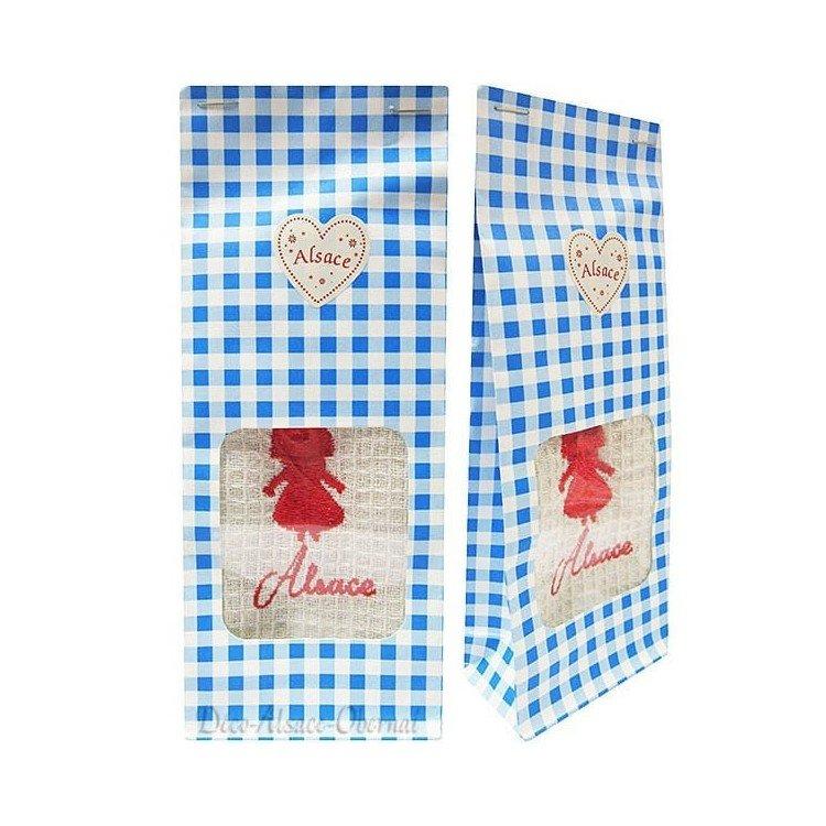 Pochon Cadeau bleu Essuie-Main brodé Cigogne d'Alsace à Offrir! à La Boite aux Trésors à Obernai