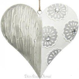 Coeur d'Alsace en Métal avec Reliefs Fleurs et Strass