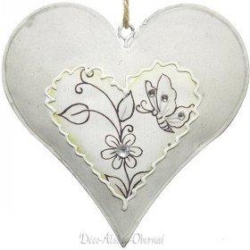 Elsässer Metallherz mit Schmetterlingen und Strassblumen