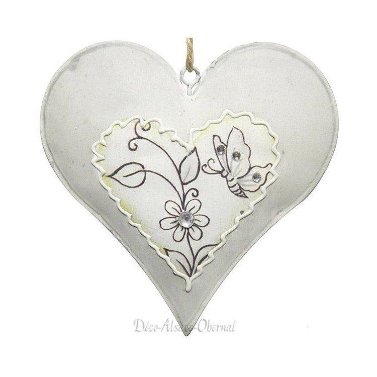 Coeur d'Alsace en Métal avec Papillons et Fleurs Strass