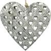 Elsass Graues Metallherz mit lasergeschnittenen Steineffekten Herzen