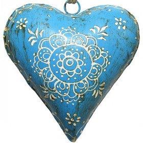 Coeur d'Alsace bombé en Métal Bleu  peint à la Main