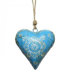 Coeur d'Alsace bombé en Métal Bleu peint à la Main La Boite aux Trésors à Obernai