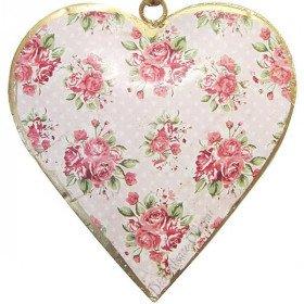 Coeur d'Alsace en Métal fond Rose Vintage décor Fleurs Roses