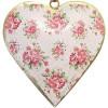 Herz Elsass in Metall rosa Hintergrund Vintage Dekor rosa Blumen