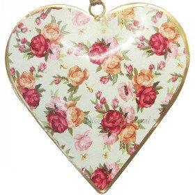 Coeur d'Alsace en Métal fond Vert Vintage décor Bouquet de Fleurs
