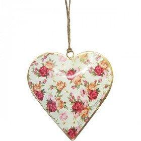 Coeur d'Alsace en Métal fond Vert Vintage décor Bouquet de Fleurs La Boite aux Trésors à