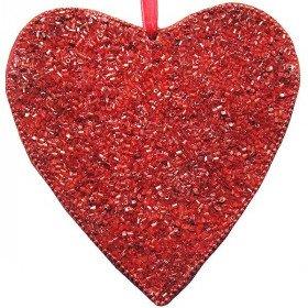 Herzanhänger aus rotem Mosaik mit Mini-Röhren verziert in La Boite aux Trésors