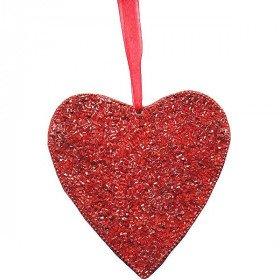 Herzanhänger aus rotem Mosaik mit Mini-Röhren verziert