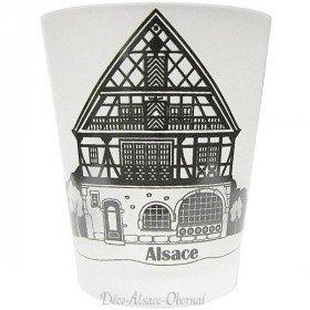Verre à Liqueur satiné décor Maison Alsacienne