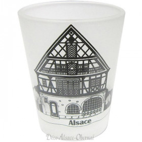 Verre à Liqueur satiné décor Maison Alsacienne à La Boite aux Trésors à Obernai