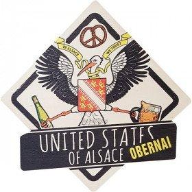 Plaque en Bois United States of Alsace à Obernai Blason Vintage