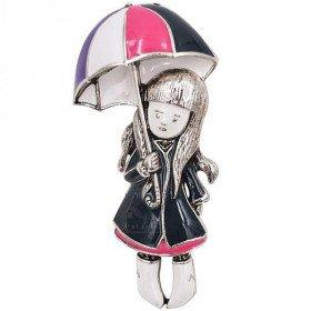 Broche Fantaisie argentée petite Fille sous parapluie