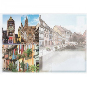 Enveloppe décorée Villages Alsaciens