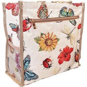 Schultertasche Muster Schmetterling, Marienkäfer und Blumen Tapestry
