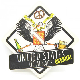 Vintage United States of Alsace Wooden Plaque in Obernai Coat of Arms
