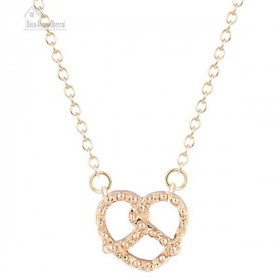 Necklace with Clasp and Bretzel Pendant of Golden Alsace