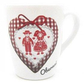 Mug à Café blanc décor Coeur et Couple Alsacien marqué Obernai à La Boite aux Trésors à Obernai