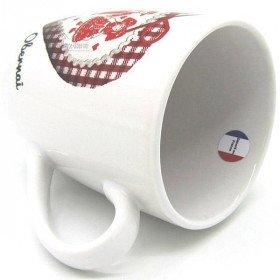 Kaffeetasse weiße Dekor Herz und Paare Elsass markiert Obernai in La Boite aux