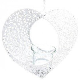 Coeur d'Alsace en Métal Blanc ajouré avec support porte bougie