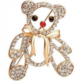 Golden fancy brooch bear cub rhinestone with bow